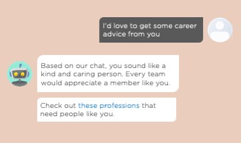 An example on a chatbot giving personalized advice