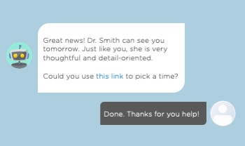 An example on a chatbot matching a patient and a doctor by their personality