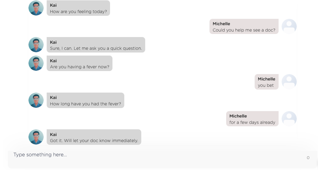 An extended Q&A flow between a user and a healthcare chatbot