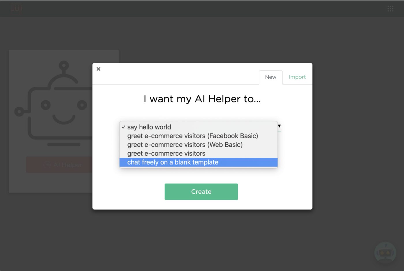 Create a new AI Helper and choose the blank template to start with