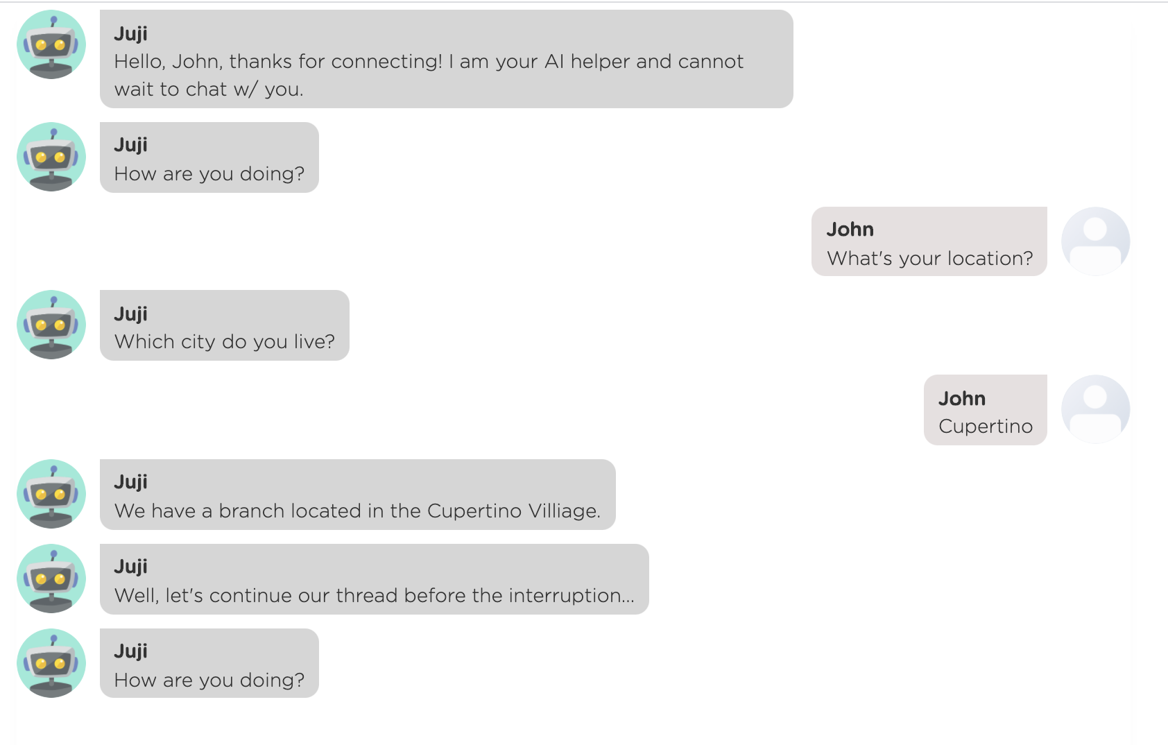 Another example of the chatbot providing the nearest branch's location with respect to the user's location