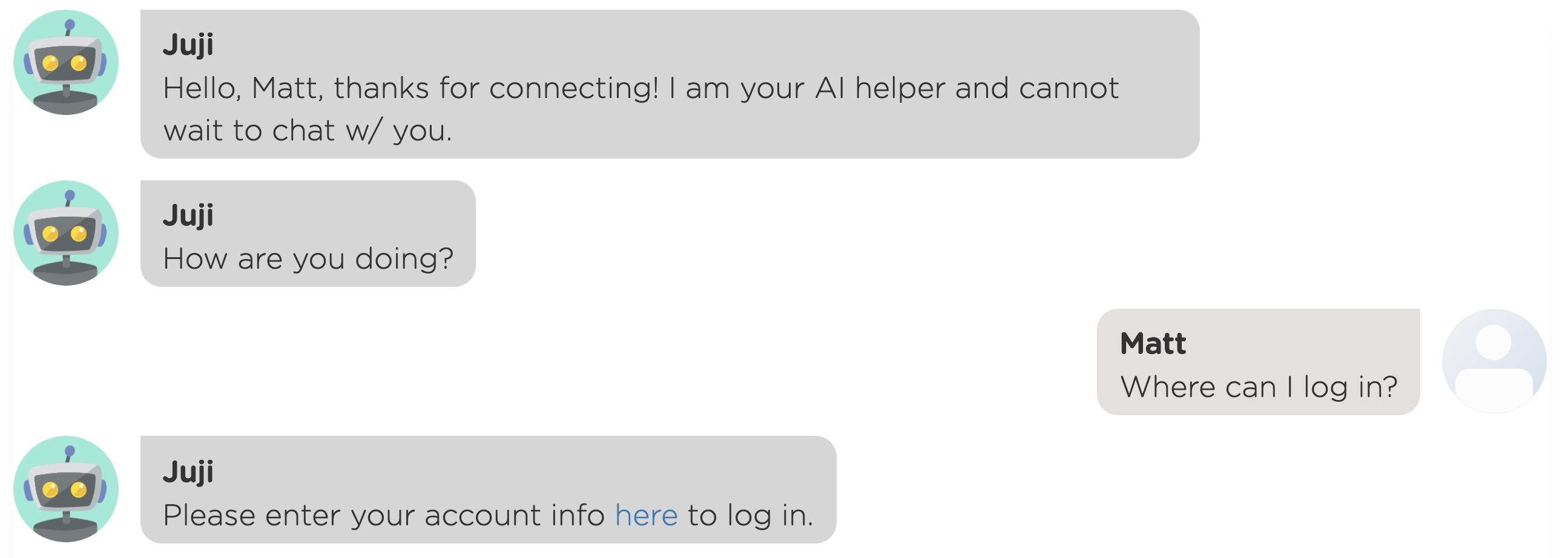 A website chatbot answers a user's free-text question to automate customer service