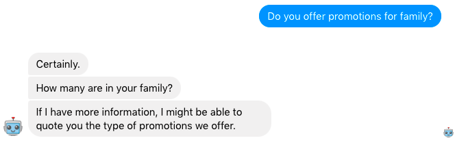 A Facebook Messenger travel chatbot uses a multi-turn reply when answering a user question
