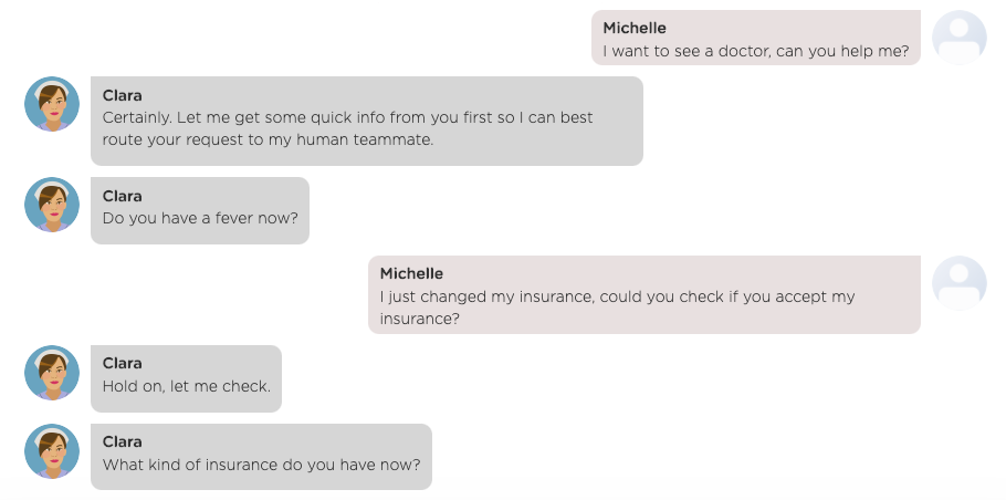 A chat between a chatbot and a user where a user interrupts a flow with a question.